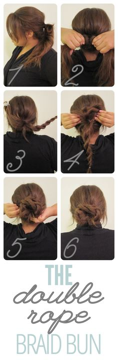 The Double Rope Braid Bun (Put the blue seashell-looking pin next to the bun so it sparkles a bit!)
