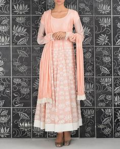 Embroidered Blush Pink Anarkali Suit