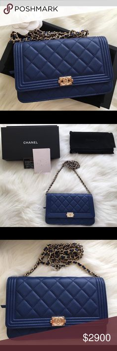 RARE Chanel WOC Navy Caviar Leather Brand New 8cca24588d