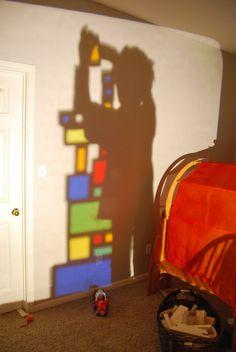 Rainbow Blocks on overhead projector