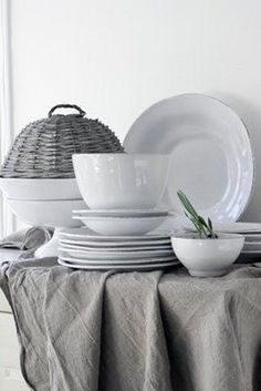Ironstone and linen~lovely combination