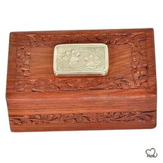 Solid Hand Carved Paw Inlaid Pet Urn for Ashes - Extra Small Cremation Boxes, Pet Cremation Urns, Funeral Urns, Keepsake Urns, Pet Ashes, Pet Urns, Colorful Backgrounds, Hand Carved, Applique