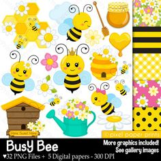 Busy Bee - Clip art and digital paper set - Bee clipart pixelpaperprints 5.00 USD