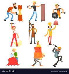 Profession and Occupation Set vector image on VectorStock Single Image, Adobe Illustrator, Vector Free, Pdf, Tools, Illustration, People, Instruments, Illustrations
