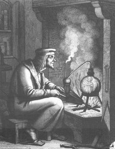 Faust and Homunculus 19th century engraving of Goethe's Faust and Homunculus