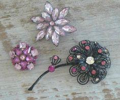 Vintage Rhinestone Brooch Pin Lot Sparkly Pink Floral Flowers