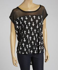 Loving this Black & White Cross Hi-Low Top - Plus on #zulily! #zulilyfinds