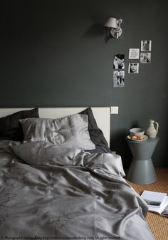 Calvin Klein beddings, Paint on the wall by Farrow & Ball. Styling & Photography by Karine Candice Köng