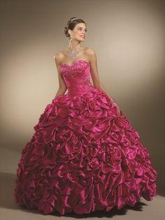 (NO.0245484 )2012 Style Ball Gown Sweetheart  Hand-Made Flower Sleeveless Floor-length Taffeta Fuchsia Prom Dress / Evening Dress