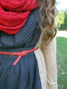 Red Crochet Scarf With Polka Dots and Knit Cardigan