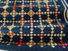 Antique Handmade Early 1900s Nine Patch Quilt Polka Dots Old Browns Red