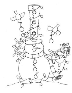 Snowman And Birds Coloring Pages For Kids Free