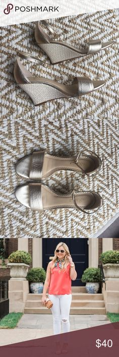 Lilly Pulitzer Bridgette Wedge Metallic Gold Excellent condition! Only worn a handful of times. Metallic gold leather and a straw wedge... perfect with jeans, sundresses, shorts, etc! Easy to dress up or down!   Single ankle strap with adjustable buckle closure. Open toe. Lightly padded leather footbed. Woven wedge heel. Heel Height: 3 1⁄2 in Lilly Pulitzer Shoes Wedges