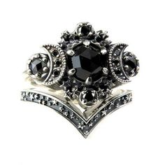 Gothic Cosmos Moon Engagement Ring Set Silver Moon and Stardust Chevron Wedding Band - Trend Diamond Necklace 2019 Gothic Wedding Rings, Gothic Engagement Ring, Engagement Ring Settings, Black Rings, Silver Rings, Wedding Bands, Ruby Wedding, Celtic Wedding, Necklaces