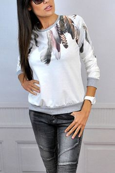 White Feather Random Floral Print Long Sleeves Top from mobile - US$13.95 -YOINS