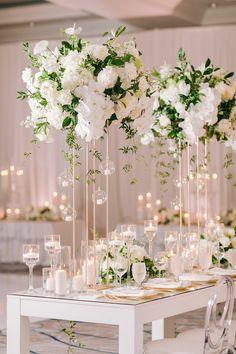 Carnation Wedding, Church Wedding Flowers, White Carnation, White Roses, Floral Wedding, Tall Wedding Centerpieces, Flower Centerpieces, Ceremony Decorations, Large Flower Arrangements