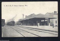 EDGERTON WISCONSIN C.M. & ST. P. RAILROAD DEPOT TRAIN STATION VINTAGE POSTCARD