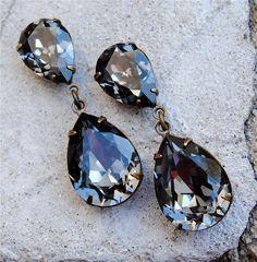 Gray Seal Blue Earrings Swarovski Crystal Earrings Post Dangle Tear Drop or Clip on Rhinestone Pear Earrings Duchess Hourglass Mashugana