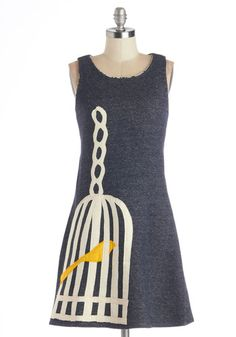Tweet Home Alabama Dress by Heel Athens Lab - Grey, Yellow, White, Print with Animals, Casual, A-line, Sleeveless, Better, International Des...