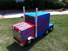 My truck-obssessed little boy would be so excited to have this!    A truck made out of cardboard boxes
