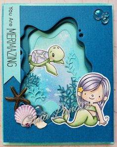 My Favorite Things Mermazing  set with Memory Box Collage ocean dies (seaweed, coral, ocean?), Tim Holtz distress inks, CC Designs Under the Sea stamps