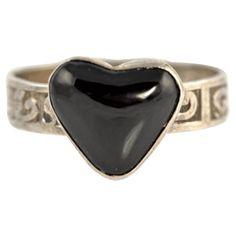 Navajo Silver Black Onyx Heart Ring