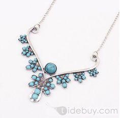 Elegant Lady's Western Aulic Style Blue Floral Alloy Fashion Necklace : Tidebuy.com