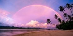 A double rainbow at Cubadak island in West Sumatra, Indonesia. Travel Wallpaper, Wallpaper Decor, Rainbow After The Storm, Hotels, Best Sunset, Packing Tips For Travel, Asia Travel, Beautiful World, The Ordinary