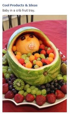 Baby in a crib fruit tray