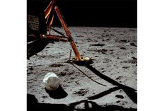 The first photo taken by Neil Armstrong after setting foot on the moon.  July 20, 1969.