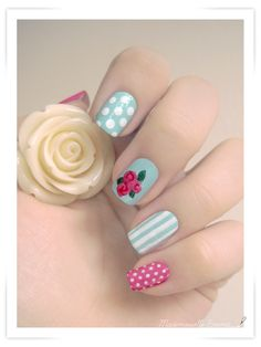Essence You Belong To Me aqua nails - nail art design with vintage roses, dots, stripes & pink dotted accent nail
