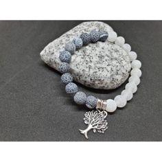 náramek z minerálů - Jin-jang kombinace :) Ledové matné acháty, strom života...