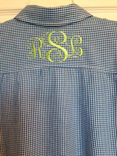 Embroidery Machine Monogram yoke on back of shirt Monogram Machine, Embroidery Monogram, Embroidery Fonts, Embroidery Ideas, Monogram Design, Monogram Fonts, Monogram Towels, Sewing Machine Embroidery, Embroidered Gifts