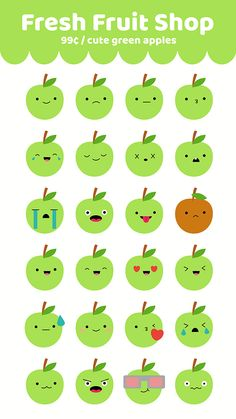 Cute Green Apple Emoji Stickers for iMessage Stickers for iMessage Green Apple iMessage Stickers Apple Stickers, Korean Stickers, Emoji Stickers, Kawaii Stickers, Cool Stickers, Printable Stickers, Cupcake Coloring Pages, Doodle Characters, Fruit Shop