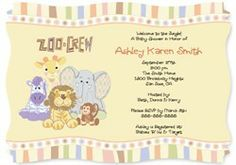 Zoo Crew - Animal Baby Shower Invitations With Squiggle Shape