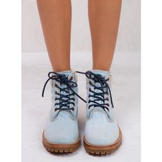 Timberland LTD Denim Fabric 6-Inch Boots ($260) ❤ liked on Polyvore featuring shoes, boots, natural white oak denim, timberland shoes, timberland footwear, denim footwear, timberland boots and denim shoes