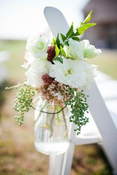 white floral mason jar wedding ceremony chair decor 275x412 Ceremony Decor Part Two:  Casual & Natural