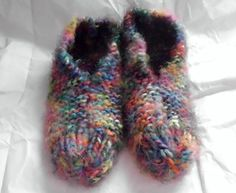 Hand Knit Wool Blend House Slippers in Crazy Colors by Jaydees925, $20.00