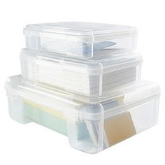 """for art supplies in kitchen cabinets - 10X 11"""", 3 per shelf. The Container Store > Clear Document Cases"""