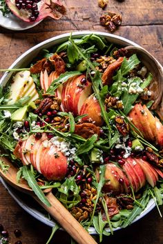 Autumn Harvest Honeycrisp Apple and Feta Salad...all tossed with a warming apple cider vinaigrette...healthy, simple, and so delicious! Easy Salads, Healthy Salad Recipes, Whole Food Recipes, Vegetarian Recipes, Healthy Dinners, Veggie Recipes, Honeycrisp Apples, Feta Salad, Half Baked Harvest