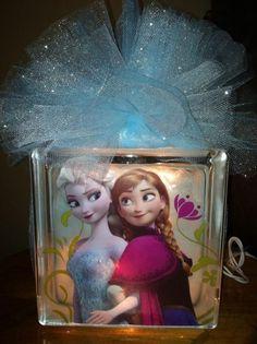 Frozen Sister night light. Jdhollenbeck10@gmail.com for ordering information. Handmade by Jori.