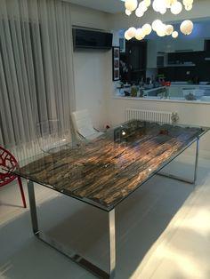 Oldwood glass table eskiağaç cam masa