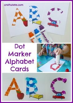 These dot marker alphabet cards are great for working on learning the alphabet, colour matching, and fine motor skills. Preschool Literacy, Preschool Letters, Literacy Activities, Kindergarten, Quiet Time Activities, Alphabet Activities, Toddler Activities, Learning The Alphabet, Fun Learning