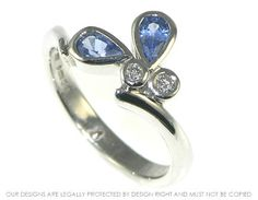 Blue butterfly platinum engagement ring. ~ Harriet Kelsall Jewellery Design