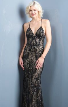 18f5630a41b Beaded Open Back Gown by Scala Couture