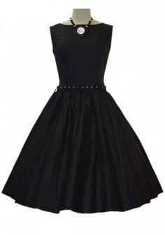 50s vintage audrey hepburn style pin up rockabilly black dress by ReoRia