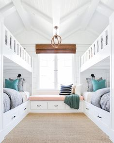 So much to love in this sweet bunk room! #projectbayshores  @tessaneustadt  home build + design @graystonecustombuilders