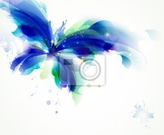 Wall Mural Abstract butterfly with blue and cyan blots Butterfly Room, Butterfly Painting, Butterfly Images, Flower Images, Butterfly Tattoos, Clip Art, City Wallpaper, Color Lines, Beautiful Butterflies