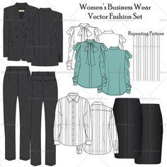 Women's business wear vector fashion flat templates. This file include blazer, pants, shirt, bow neck shirt and skirt fashion flat template with a stripe repeating pattern. All these sketches are done in details so it could be modified easily with any color change option.