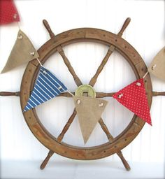 nautical nursery, nautical decor, beach house decor, red, white, blue pennant, pirate party decor, summertime party decor on Etsy, $30.00